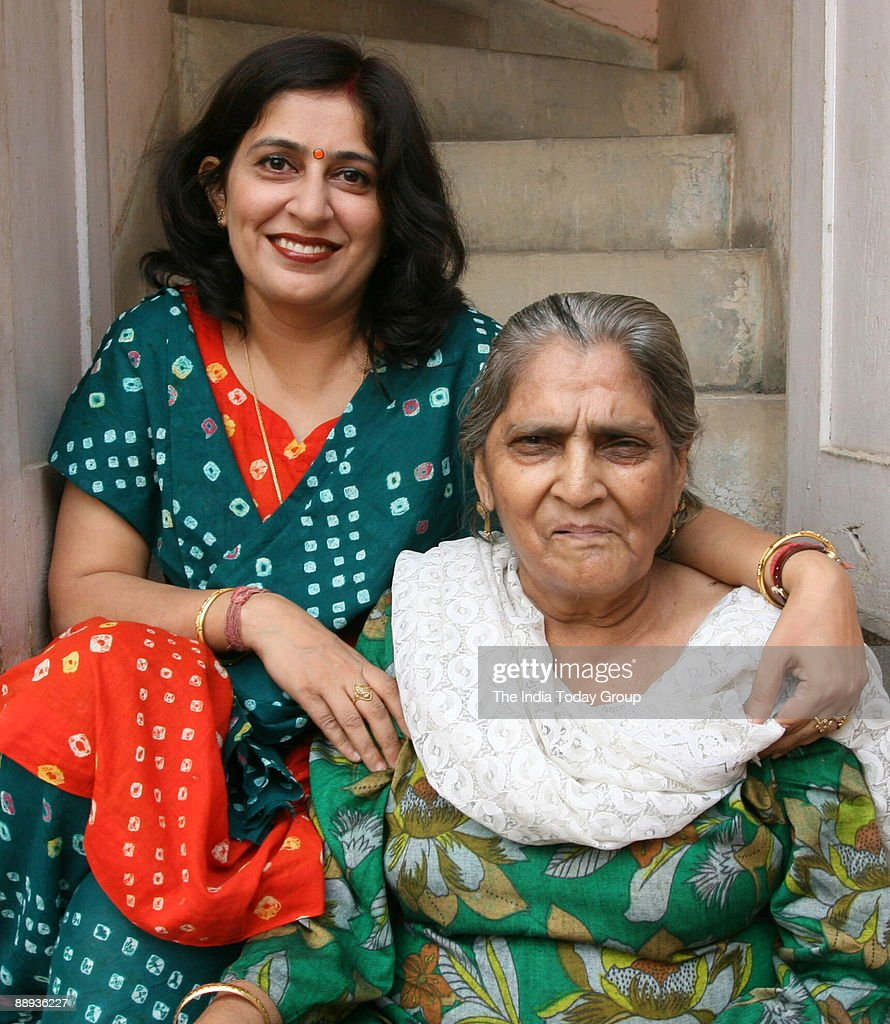 Mamta Oberoi Manager in Punjab National Bank with her mother Raksha Malhotra in New Delhi India