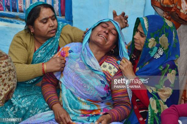 Mamta Rawar mourns her husband slain Central Reserve Police Force Shahid Kaushal Kumar Rawat trooper in Agra on February 15 the day after an attack...