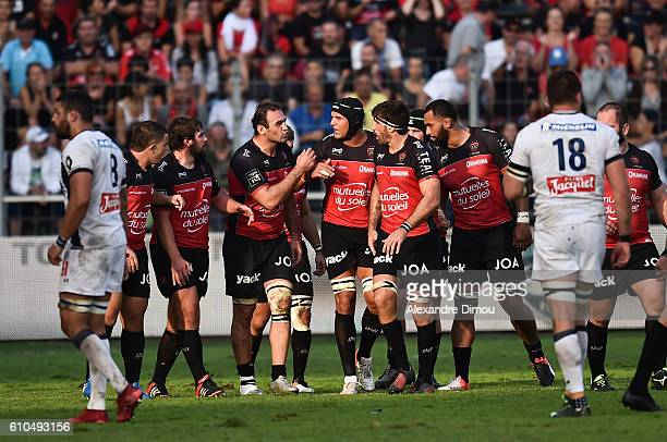 Mamuka Gorgodze Juandre Kruger and Juan Martin Fernandez Lobbe of Toulon during the Top 14 match between Toulon and Clermont at on September 25 2016...