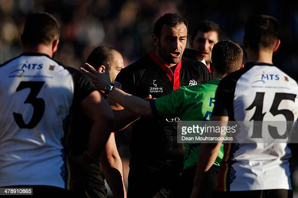 Mamuka Gorgodze of Georgia speaks to referee Luke Pearce during the FIRAAER European Nations Cup Division 1A match between Georgia and Romania at the...
