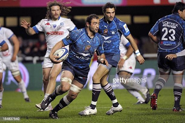 Mamuka Gorgodze of Montpellier runs with the ball during the French Top 14 rugby union match Montpellier vs Grenoble on October 27, 2012 at the Yves...