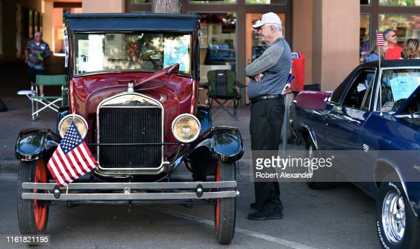 A man admires a 1927 Ford Model T on display at a Fourth of July classic car show in Santa Fe New Mexico