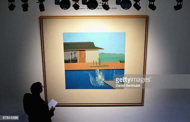 A man admires the painting named Splash By David Hockney on May 18 2006 in London England The painting by the celebrated British painter draughtsman...