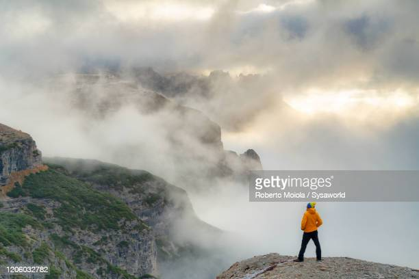 man admiring dolomites alps in a sea of clouds from top of mountain, italy - ベッルーノ ストックフォトと画像