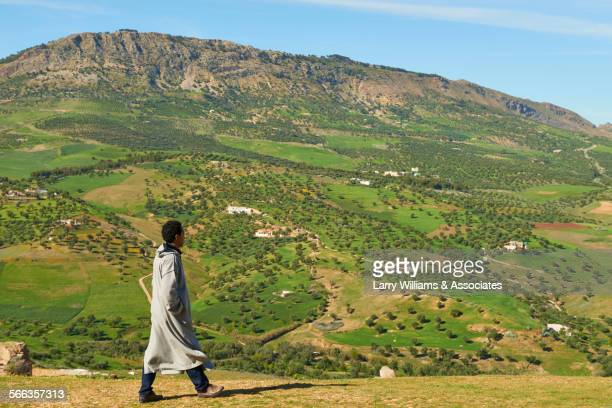 man admiring hills in remote landscape - tunic stock pictures, royalty-free photos & images