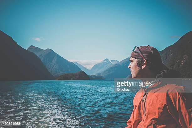 Man Adventurer in Milford Sound, South Island, New Zealand