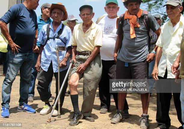 A man affected by pesticide Nemagon shows his physical damages during a meeting with US lawyer Robert McKee Nicaraguan lawyers Tony Lopez and Gustavo...
