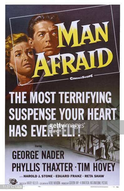 Man Afraid poster US poster art from left Phyllis Thaxter George Nader 1957