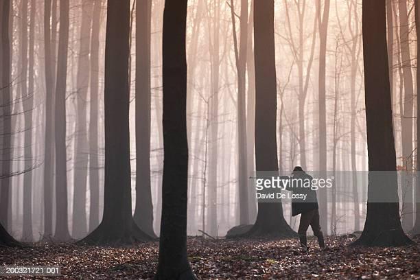 man aiming shotgun in forest - jagd stock-fotos und bilder