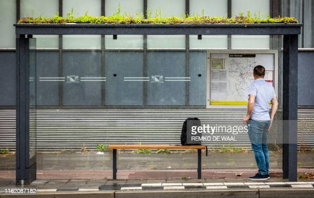 Man aits under a bus shelter with a green roof on the Pijperlaan in Utrecht, on August 17, 2019. - The plant is a Sedum, a type of succulent that...