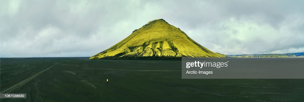 Man Alone in Nature, Black Sands, Iceland : Stock Photo