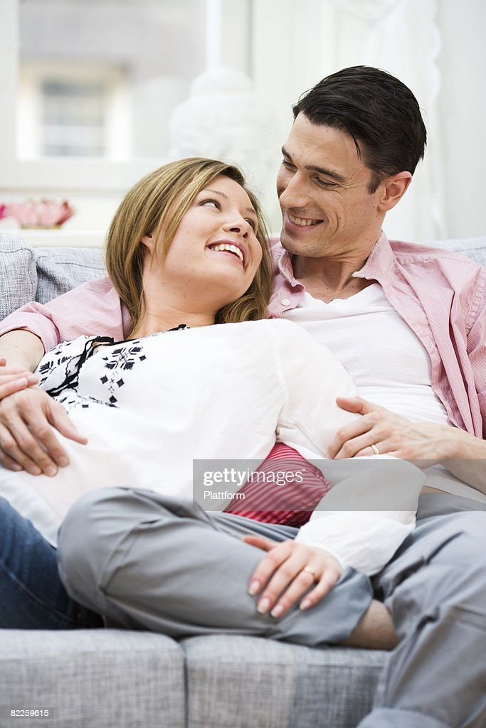 A man and a pregnant woman Sweden. : Stock Photo