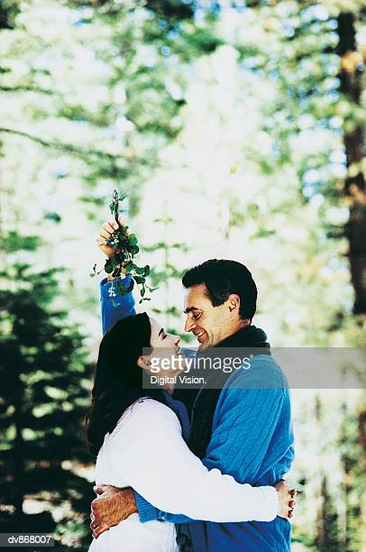 Man and a Woman About to Kiss Under the Mistletoe