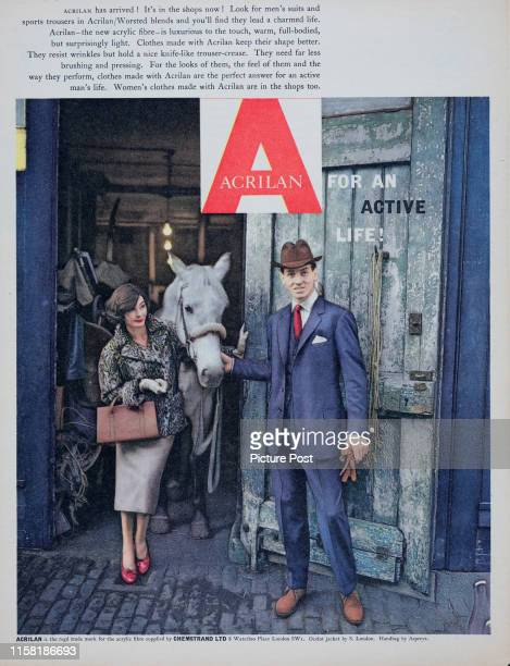A man and a woman display clothing made of the synthetic acrylic textile fibre Acrilan Original Publication Picture Post Ad Vol 75 No 7 P 6 pub  18th...