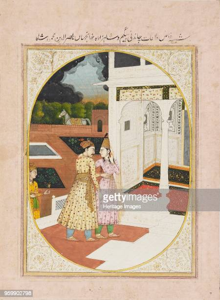Man and a woman in a palace 19th century Dimensions height x width mount 553 x 404 cmheight x width page 248 x 182 cmheight x width painting with...