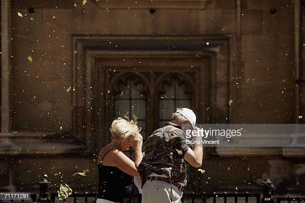 A man and a woman struggle against a swirling mass of leaves dust and pollen as they walk through Westminster on June 10 2006 in London England