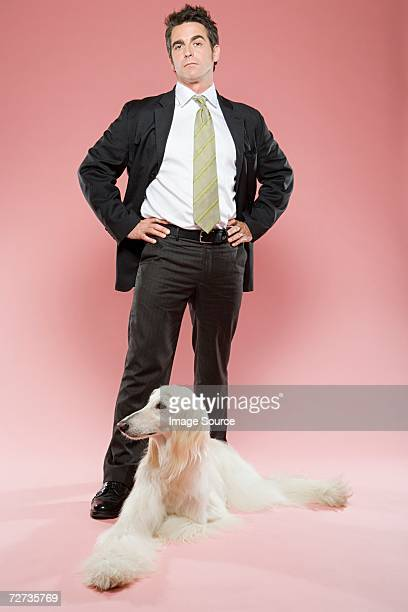 Man and an afghan hound
