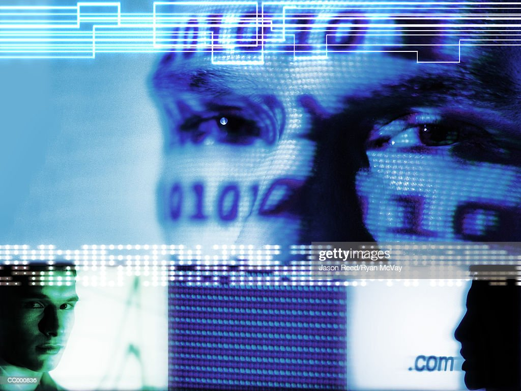 Man and binary code projection, close-up (Digital Composite) : Stock Photo