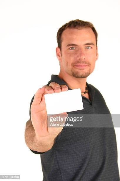 Man and blank business card