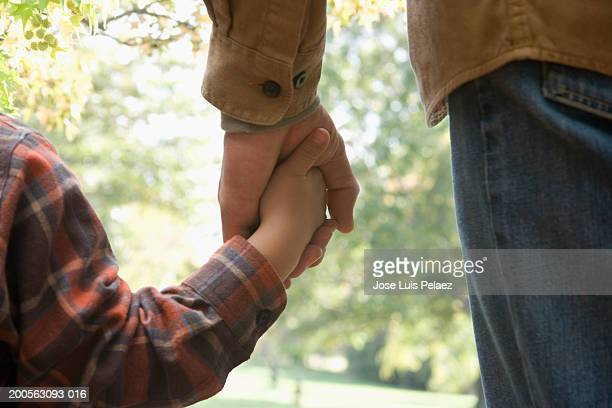 Man and boy (4-5) holding hands, rear view, close-up on hands