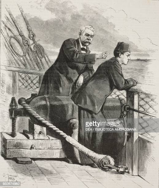 Man and boy on the deck of a ship illustration from the weekly Rivista Illustrata No 190 August 20 1882