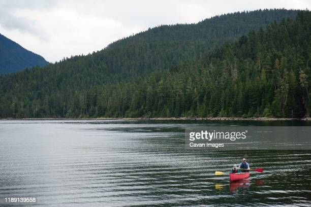 man and child paddling a canoe on a mountain lake - wide shot stock pictures, royalty-free photos & images