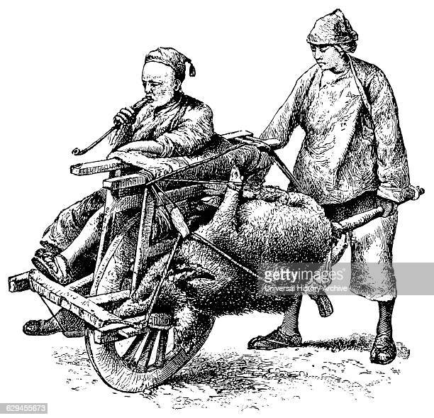 Man and Dead Animal Being Transported on SingleWheel Cart China 'Classical Portfolio of Primitive Carriers' by Marshall M Kirman World Railway Publ...
