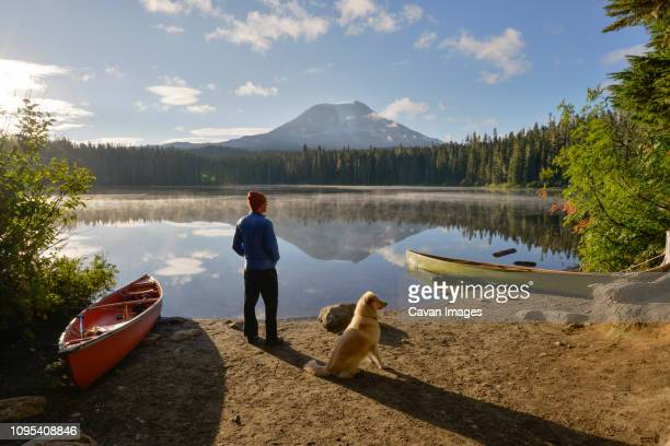 man and dog at lakeshore in forest against sky - moored stock pictures, royalty-free photos & images