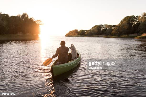 man and dog in the sun set with canoe - canoe stock pictures, royalty-free photos & images