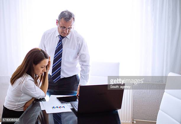 Man and girl in office