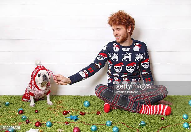Man and his dog at Christmas
