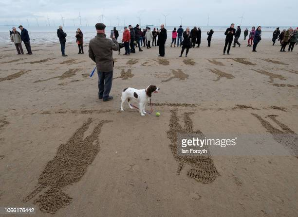 A man and his dog look out over stenciled outlines of soldiers drawn in the sand during a large scale sand portrait project called 'Pages of the Sea'...