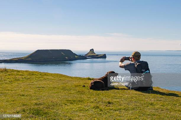 man and his dog look towards worm's head, rhossili bay - scenics stock pictures, royalty-free photos & images