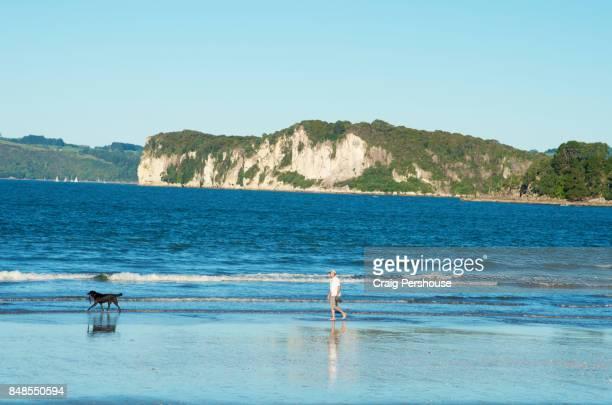 Man and his dog walking along Buffalo Beach.