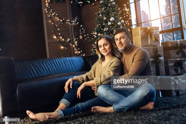 Man and his girlfriend enjoying at Christmas evening