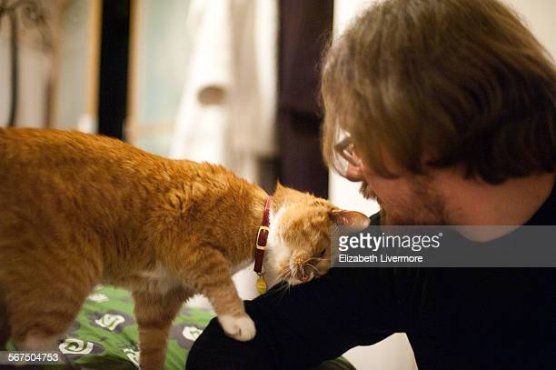 man and his pet cat - borough of lewisham stock pictures, royalty-free photos & images