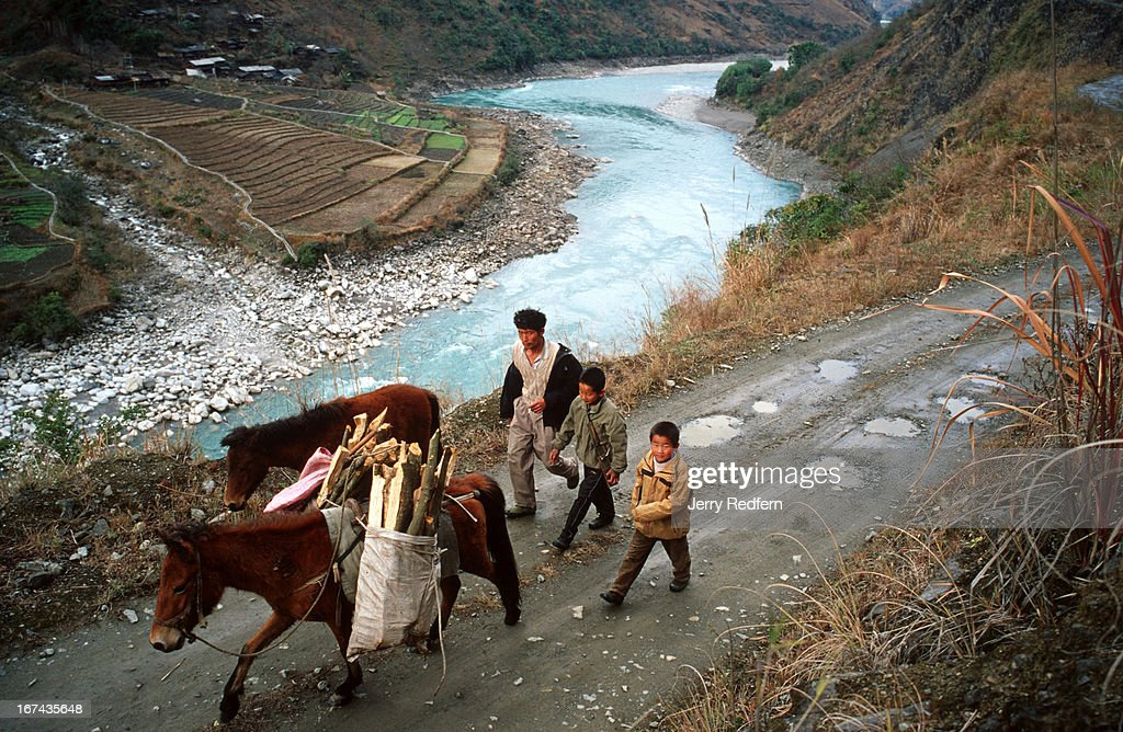 A man and his sons with their donkeys carrying firewood follow a rough road above the Nujiang River in the rural parts of Yunnan Province..