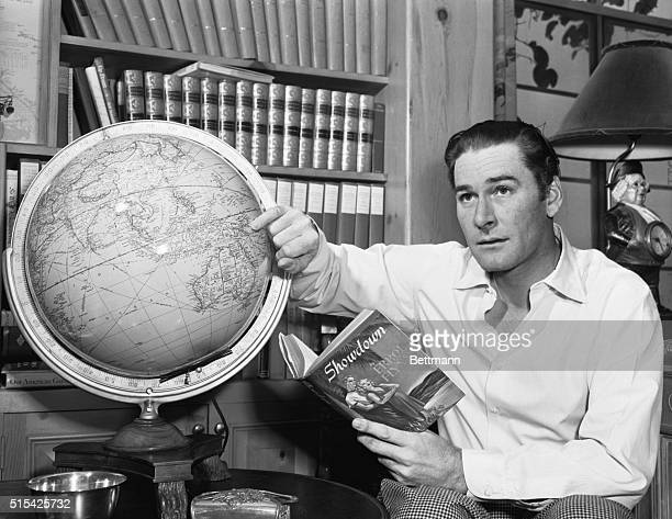 A Man and His Thoughts Hollywood Calif Screen actor and adventurer Errol Flynn eyes the globe as he plans South Seas voyage in his Schooner He...