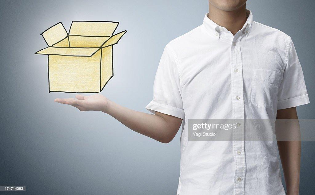 Man and Painting box drawn : Stock Photo