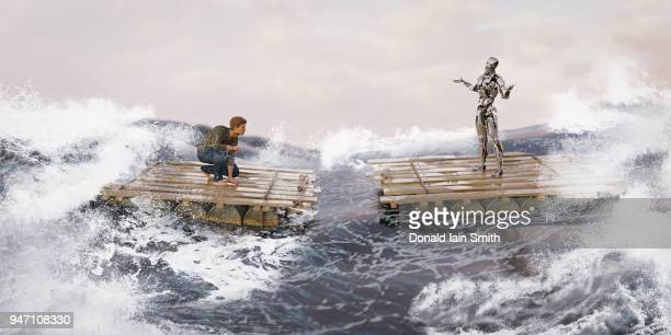 Man and robot on rafts in storm at sea