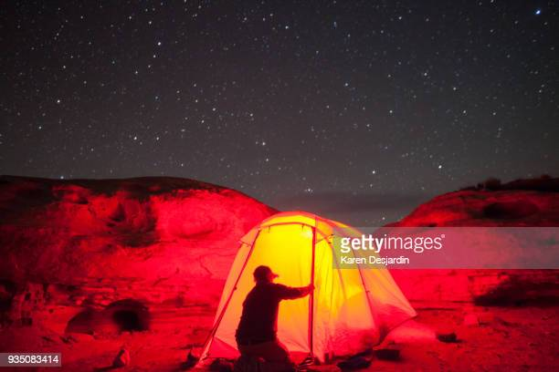 Man and tent under the night sky