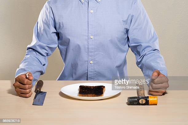 A man and the burnt toast