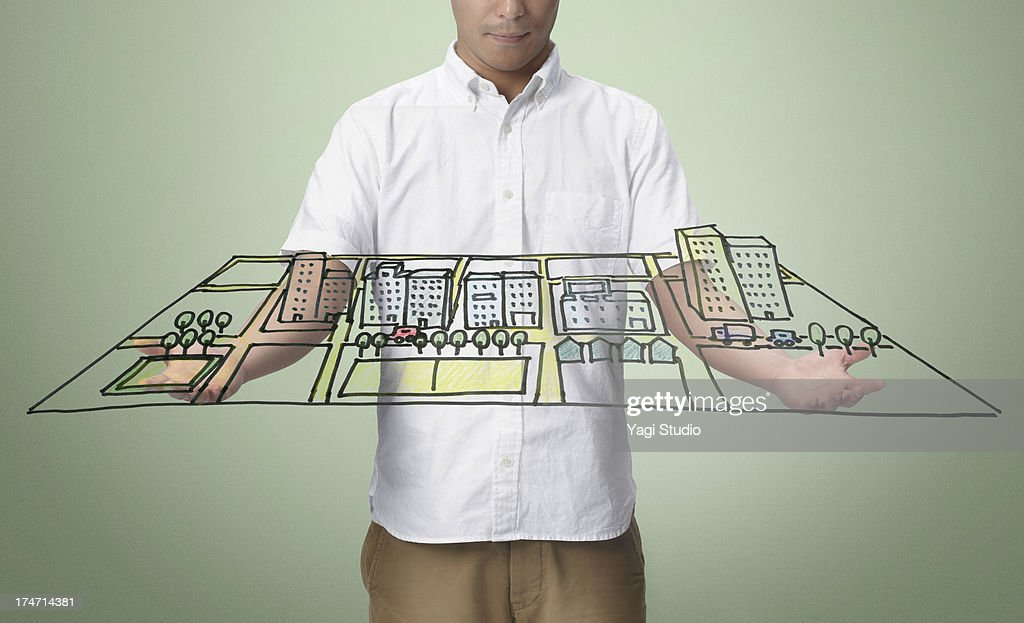 Man and Town of handwriting : Stock Photo