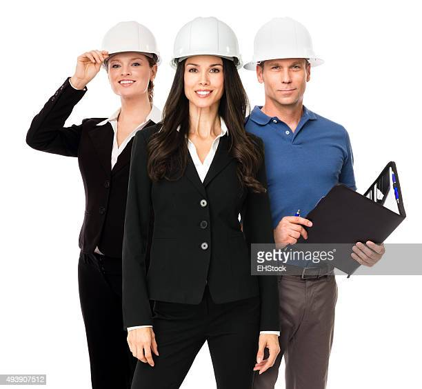 Man and Two Woman Industrial Engineering Architects Contractors