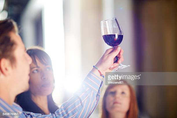 Man and two women examining red wine