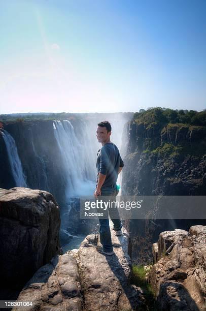 Man and Victoria Falls, Zimbabwe