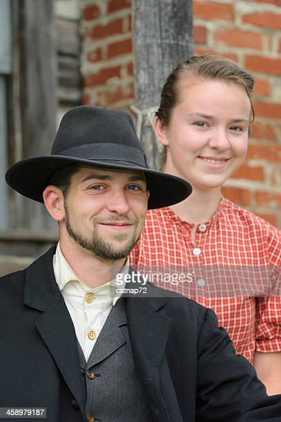 Man and Woman 1880's Couple, American Wild West Reenactors