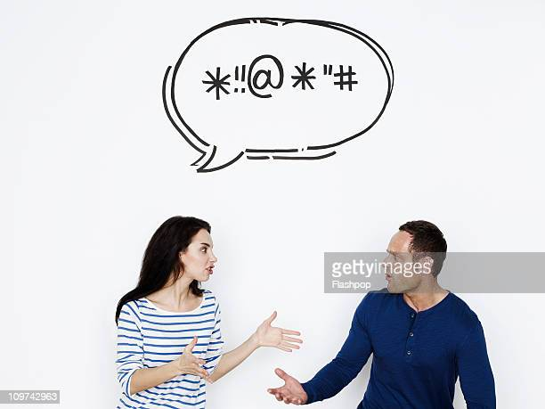 Man and woman arguing with speech bubble