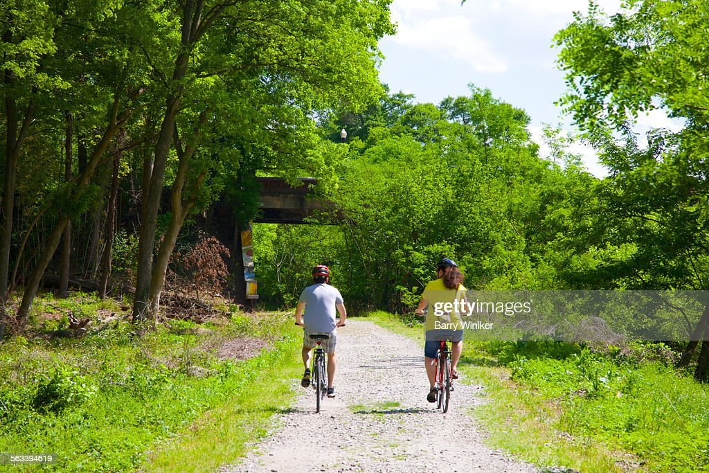 Man and woman bicycling on Atlanta BeltLine : Stock Photo