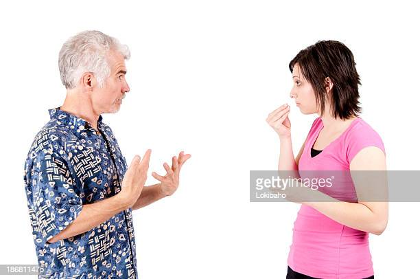 Man and woman discussing Food in ASL